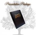 Hardback binder with Family History printed in gold coloured lettering on the front