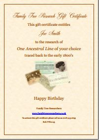 Family Tree Research Gift Certificate