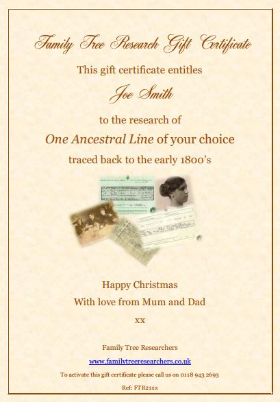 Image of a Family Tree Gift Certificate